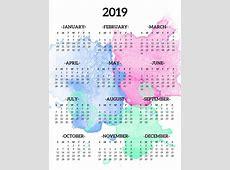 Calendar 2019 Printable One Page CALENDÁRIO 2019