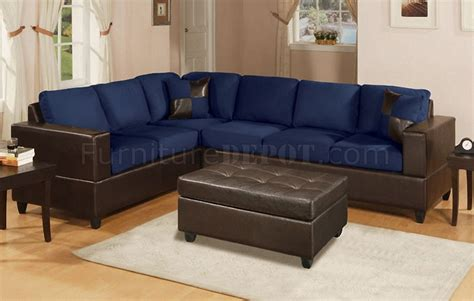 Contemporary Microfiber Sectional Sofa by Navy Microfiber Contemporary Sectional Sofa W Faux Leather