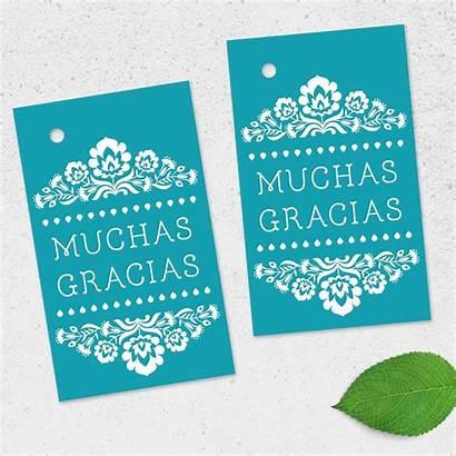 Tags Gracias Turquoise Muchas Printable Gift Fiesta