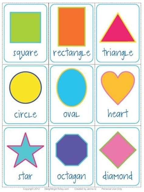 free shape flashcards and printable delighting 747 | f76577ba5788f483e9d81fecfdfbb079