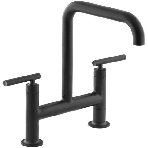 matte black kitchen faucet shop kohler purist matte black 2 handle high arc kitchen