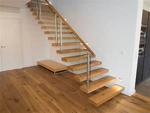 Treppe Mit Glasgeländer : kragarmtreppe eiche mit glasgel nder schreinerei unterhuber ~ Sanjose-hotels-ca.com Haus und Dekorationen