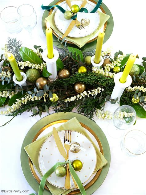 green gold christmas holiday tablescape party ideas