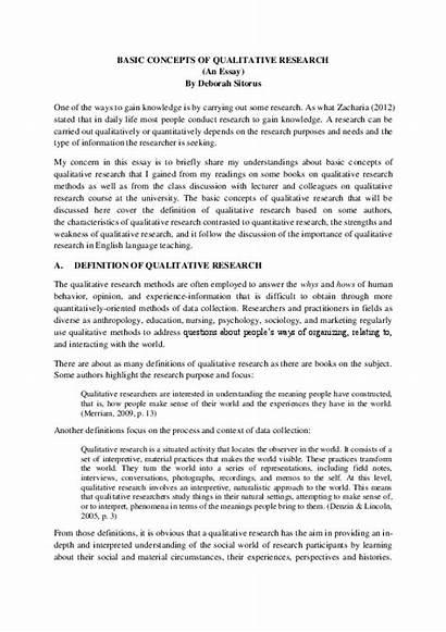 Qualitative Research Essay Academia