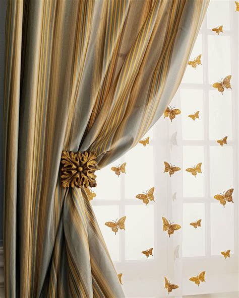 Silk Drapes by Gold Butterfly On Sheer Organza Silk Curtains Drapes