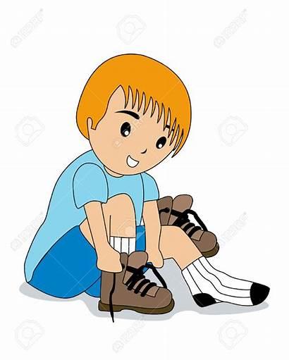 Shoes Clipart Socks Tying Put Boy Tie