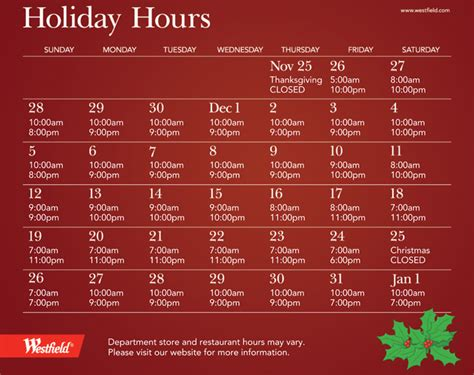 extended holiday shopping hours at the westfield annapolis