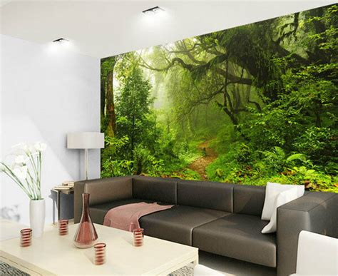 tropical dark green forest nature rainforest  full wall