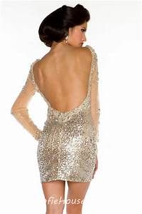 Sexy Backless Short Mini Champagne Sequin Beaded Long ...