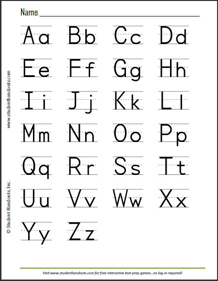 free printable print manuscript handwriting alphabet