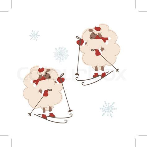 sheep santa symbol   year  stock vector