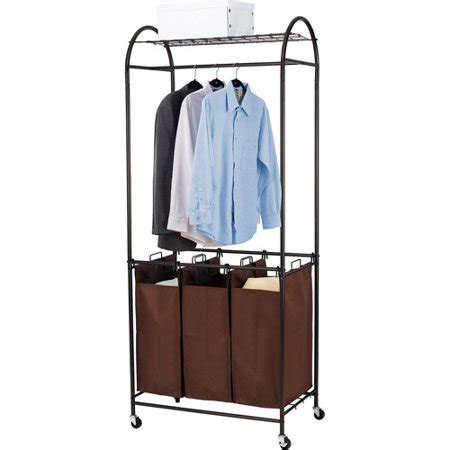 laundry rack walmart canopy 3 bin laundry center with garment rack bronze