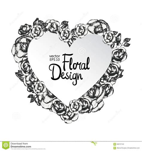 vintage floral vector frame heart shape stock vector