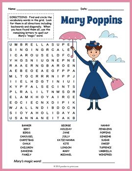 mary poppins activity word search fun  puzzles