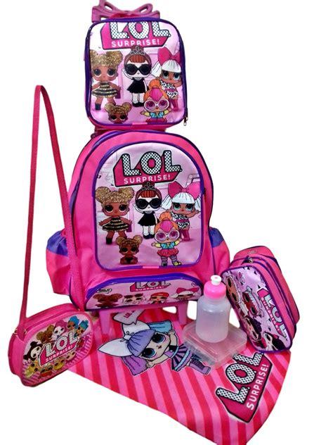 kit mochila escolar lol surprise bolsinha estojo duplo