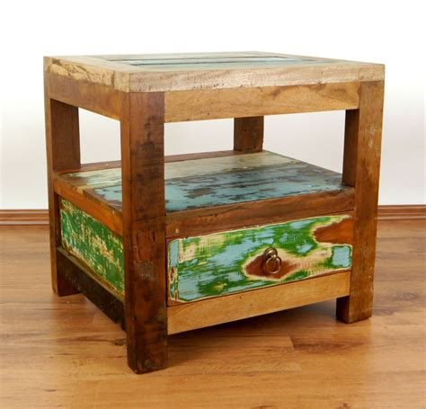 colourful bedside table reclaimed teak wood java furniture