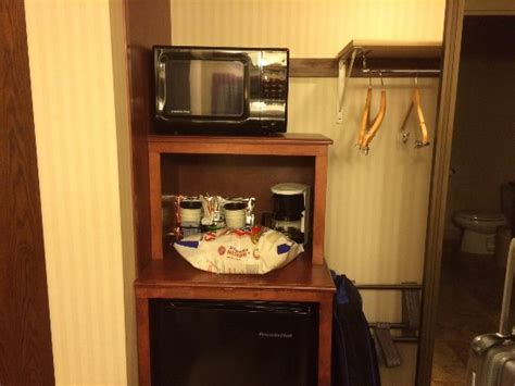 mini fridge microwave closet picture of hotel