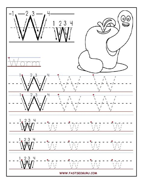 printable letter w tracing worksheets for preschool 350 | 66b62b815768087f5127c9bc3d25e961