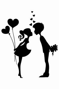 Silhouette of two people with red hearts | Tattoo ...