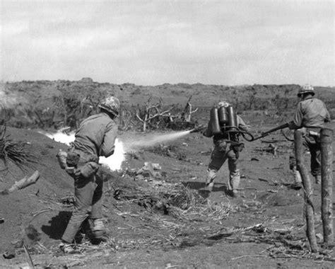 A Us Marine Uses An M2 Flamethrower On Iwo Jima, March