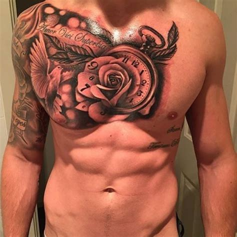 chest  arm sleeve  rose dove  clock venice tattoo art designs tattoos pinterest