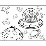 Space Alien Coloring Flying Through Printable sketch template