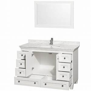 Acclaim 48quot white bathroom vanity set for White vanity cabinets for bathrooms