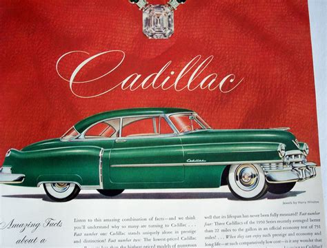 1950 Car Ad Green Cadillac Classic Automobile 1950s Style