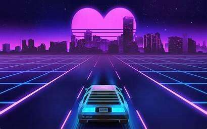 Neon Retrowave Vaporwave Lights Lines 80s Road
