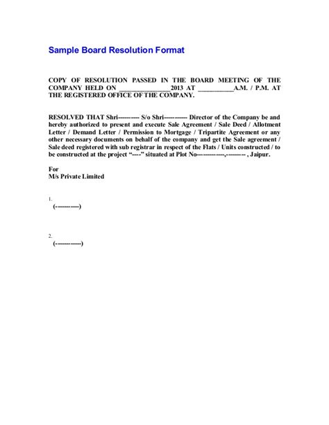sample board resolution format