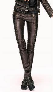 pantalon steampunk femme en simili cuir marron punk rave k202 With vêtements steampunk femme