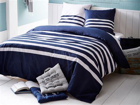 Housse De Couette Bleu Parure Housse De Couette R 233 Versible 240x220cm Taies Coton Rayure Marin Bleu Marin