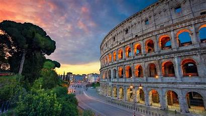 Rome Colosseum Italy Street Lights Road Background