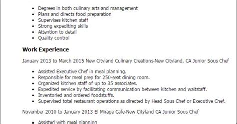 junior sous chef resume telates for mike