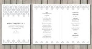 wedding reception order of service damask paperchain wedding stationery