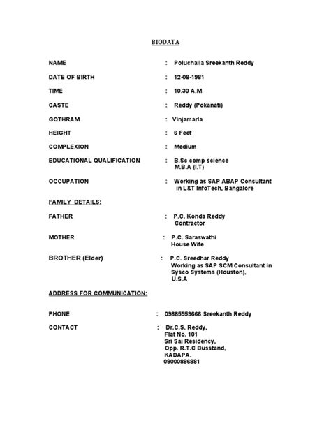 format of marriage resume biodata format for marriage