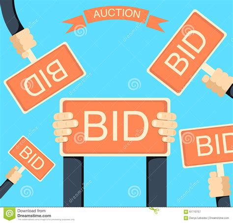 bid auctions auction and bidding banner with holding bords stock