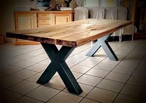 Pied Bois Scandinave : table bois m tal pied croix scandinave pied en acier ~ Teatrodelosmanantiales.com Idées de Décoration