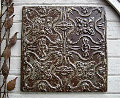 rustic vintage tin ceiling tile circa 1915 ready to hang