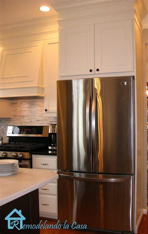 building  refrigerator enclosure kitchen redo builder grade kitchen kitchen remodel