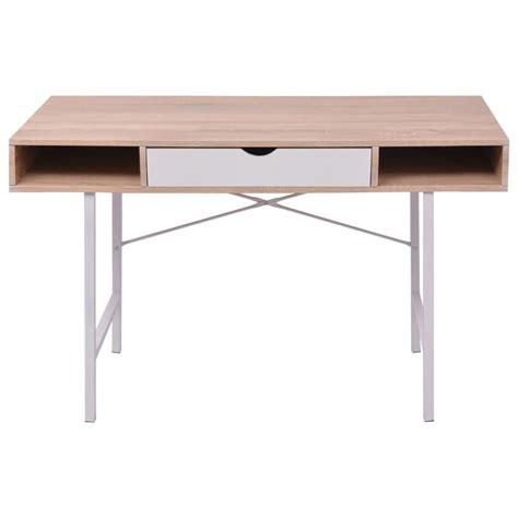 bureau avec ordinateur vidaxl bureau avec 1 tiroir chêne et blanc table d