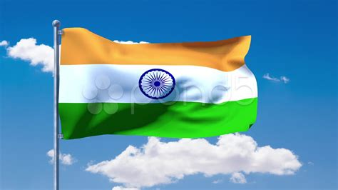 video indian flag waving   blue cloudy sky