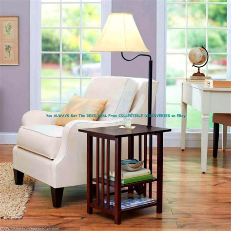 end table floor l 54 quot rich dark wood end table built in 3 way floor lamp w