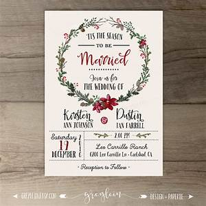 winter wedding invitations wreath 39tis the season to With images of christmas wedding invitations