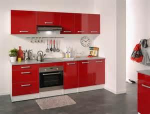 Meuble bas de cuisine contemporain 60 cm 3 tiroirs blanc/rouge brillant Jackie Meuble de