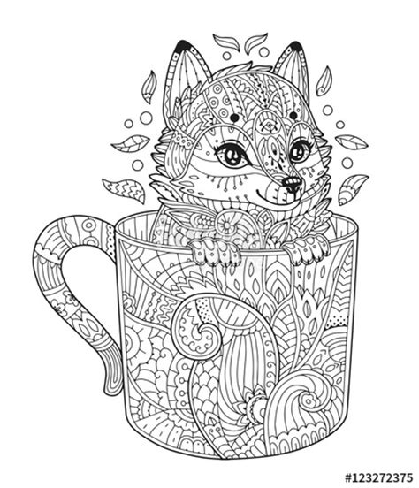 vector fox  cup adult antistress coloring page  animal  zentangle style vector