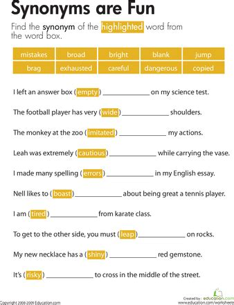 synonyms are worksheets plays and school