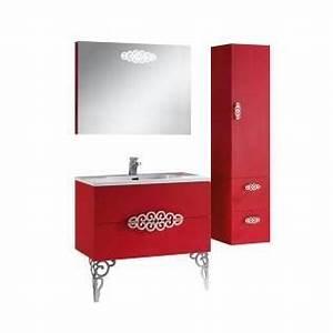 meuble de salle de bains design retro rouge 90 cm achat With meuble de salle de bain 90 cm design