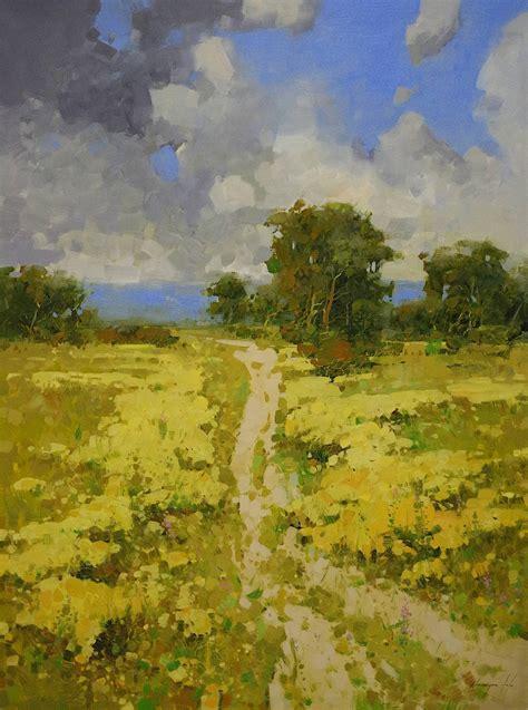 Saatchi Art Meadow Landscape Oil Painting Large Size