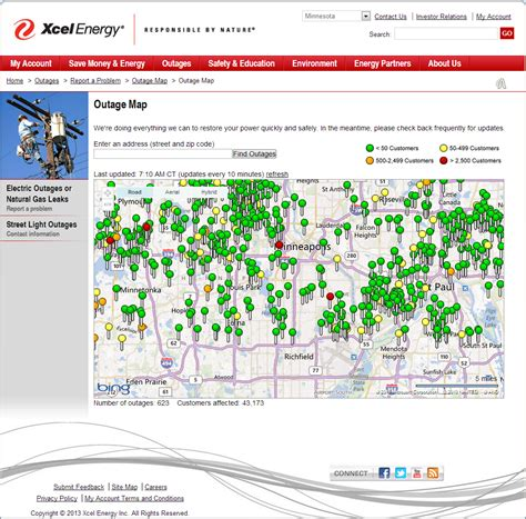 twin cities xcel energy power outage map